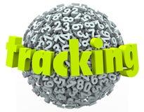 El seguimiento de palabra numera el hallazgo en línea de la orden de la información de datos stock de ilustración