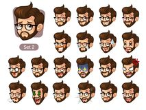 El segundo sistema de emociones faciales del inconformista barbudo con los vidrios stock de ilustración
