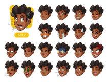 El segundo sistema de las emociones faciales masculinas con el pelo rizado libre illustration