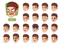 El segundo sistema de las emociones faciales masculinas con el pelo rojo libre illustration