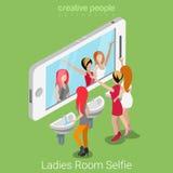 El selfie del tocador de señoras tiró el medios vector social isométrico plano 3d Imagenes de archivo