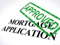 El sello aprobado solicitud de hipoteca muestra el préstamo hipotecario estado de acuerdo Imagen de archivo