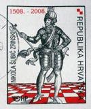 El sello conmemorativo dedicado a Nikola Subic Zrinski imprimió en Croacia imagen de archivo
