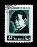 El sello de Bulgaria muestra el retrato de Geo Milev, 30 años desde la muerte del poeta-antifascists, circa 1955 Fotografía de archivo libre de regalías