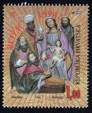 El sello de la Navidad impreso en el Croacia muestra el nacimiento de Jesus Christ, adoración de unos de los reyes magos Imágenes de archivo libres de regalías