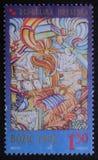 El sello de la Navidad impreso en el Croacia muestra la guardería de la Navidad Fotografía de archivo libre de regalías
