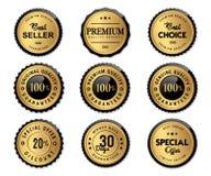 El sello de lujo etiqueta el oro y el producto de calidad superior stock de ilustración