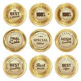 El sello de oro etiqueta el producto de calidad stock de ilustración