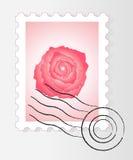 El sello del poste con se levantó Foto de archivo
