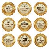 El sello elegante del oro etiqueta el producto de calidad ilustración del vector