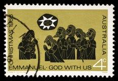 El sello impreso en Australia muestra la adoración de los pastores Imagenes de archivo