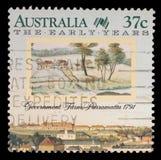 El sello impreso en Australia muestra la granja del gobierno, Parramatta, Sydney Foto de archivo libre de regalías