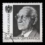 El sello impreso en AUSTRIA muestra la imagen de Franz Josef Jonas Foto de archivo