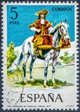El sello impreso en España muestra Timbalero del peto 1677 de los caballos Foto de archivo libre de regalías