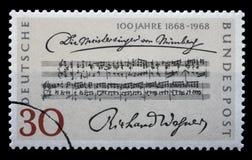 El sello impreso en la Alemania muestra barras de la abertura, muere Meistersinger von Nurnberg, por Richard Wagner Fotografía de archivo libre de regalías