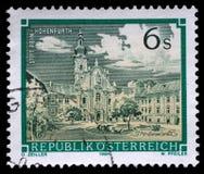 El sello impreso en la Austria muestra a Rein Abbey, monasterio cisterciense, Hohenfurth, Estiria Imagen de archivo libre de regalías