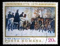El sello impreso en la Rumania muestra Washington en la fragua de Walley foto de archivo libre de regalías