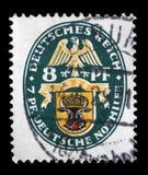 El sello impreso en el Reich alemán muestra el escudo de armas fotos de archivo libres de regalías