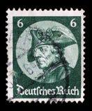 El sello impreso en el Reich alemán muestra la imagen del der Grosse de Friedrich foto de archivo libre de regalías