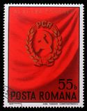 El sello impreso en Rumania muestra al 11mo congreso rumano de Partido Comunista Imágenes de archivo libres de regalías