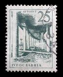 El sello impreso en Yugoslavia muestra camino de un motor de Ljubljana - de Zagreb Foto de archivo libre de regalías