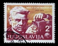 El sello impreso en Yugoslavia muestra el 100o aniversario del nacimiento de Milton Manaki Imagen de archivo libre de regalías