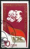 El sello muestra a Lenin, Marx, Engels Fotos de archivo