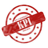 El sello resistido rojo de KPI circunda y protagoniza Fotos de archivo