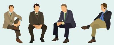 El sentarse de los hombres de negocios Imágenes de archivo libres de regalías