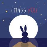 El sentarse del conejo solo en el claro de luna Imagen de archivo