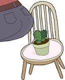 El sentarse en el cactus ilustración del vector