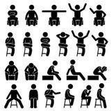 El sentarse en silla plantea la figura humana iconos del palillo de la gente del hombre de las posturas del pictograma de Stickma Imagenes de archivo