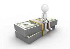 El sentarse encima de dólar Imagen de archivo libre de regalías