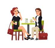 El sentarse hermoso de dos mujeres de negocios stock de ilustración