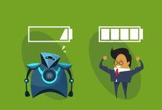 El ser humano contra hombre robótico de los robots y de negocios moderno con la batería firma el icono ilustración del vector