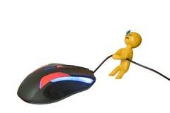 El ser humano de la plastilina sudó el fondo del blanco del ratón del alambre de los tirones del emoji imagen de archivo
