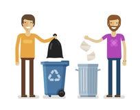 El ser humano, hombre lanza desperdicios en compartimiento de basura Ofrecerse voluntariamente a gente, ecología, concepto del am stock de ilustración