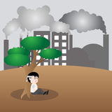El ser humano quiere un árbol, tierra de la reserva del concepto fotografía de archivo libre de regalías