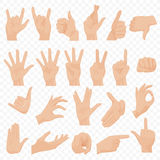 El ser humano realista da iconos y el sistema de símbolos Iconos de la mano de Emoji Diversos gestos, manos, señales y emociones  Fotos de archivo