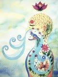 El ser humano respira adentro, hacia fuera pintura de la acuarela del fondo de la flor de la naturaleza libre illustration
