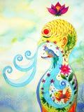 El ser humano respira adentro, hacia fuera pintura de la acuarela del fondo de la flor de la naturaleza ilustración del vector