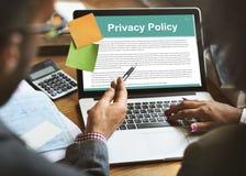 El servicio de la política de privacidad documenta términos del concepto del uso imagen de archivo