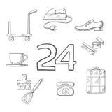 El servicio del hotel y de habitación bosquejó iconos Imagen de archivo