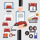 El servicio y el cliente del automóvil traen al coche del mantenimiento Vecto Imagen de archivo