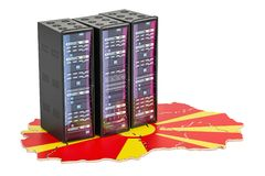 El servidor del centro de datos atormenta en el concepto de Macedonia, representación 3D Fotografía de archivo libre de regalías