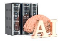 El servidor del ordenador atormenta el concepto del AI, representación 3D Imagen de archivo
