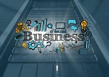 El servidor negro con negocio azul y amarillo garabatea y las llamaradas y capa azul Foto de archivo libre de regalías