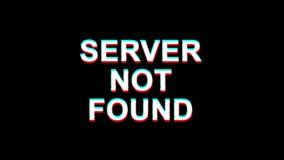 El servidor no encontró la animación digital del lazo de la distorsión 4K del texto TV del efecto de la interferencia stock de ilustración