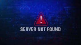 El servidor no encontró el mensaje de error amonestador alerta el centellar en la pantalla almacen de metraje de vídeo