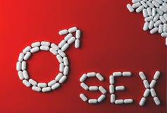 El sexo de la palabra con las cápsulas y las píldoras con los tratamientos para la disfunción eréctil Fotos de archivo